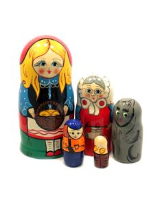 Russian matryoshka set with Red riding hood fairytale characters