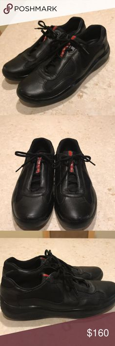 Prada men sneakers Size 9.5. Black color. Still in good condition. Has some  scratches at the front. You can polish to diminish the visibility. Very comfortable shoes. Retail for 600. Prada Shoes Sneakers
