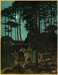 Maurice Lalau ~ The Romance of Tristram and Iseult ~ 1909 / Translated from the French by Florence Simmonds / London: William Heinemann, c1910 / All night, passing through the beloved woods for the last time, they journeyed in silence.