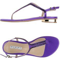 Designer Clothes, Shoes & Bags for Women Purple Sandals, Purple Shoes, Toe Shoes, Shoes Sandals, Flats, Rhinestone Sandals, Thongs, Cap, Polyvore