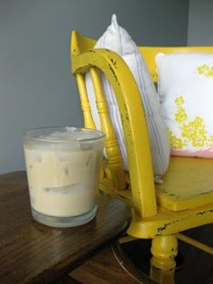 yellow painted chair for the guest bedroom