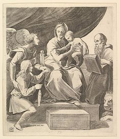 Marcantonio Raimondi  (Italian, Argini (?) ca. 1480–before 1534 Bologna (?)); The Virgin of the Fish, engraving after Raphael painting, Metropolitan Museum of Art, New York