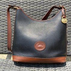 Dooney & Bourke Bags | Vintage Dooney Bourke Leather Shoulder Bag | Poshmark Black Leather Bags, Brown Leather, Barrel Bag, Pink Tote Bags, Large Shoulder Bags, Dooney Bourke, Leather Shoulder Bag, Vintage Bag, Black And Brown