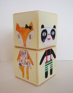 Wooden Blocks - animal mix and match.