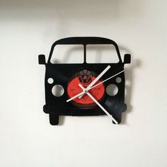 VW Split Screen Camper clock Vinyl Record Clock Vintage retro Design Red Label                                                                                                                                                                                 More