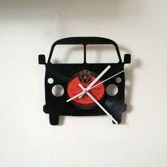 VW Split Screen Camper clock Vinyl Record Clock Vintage retro Design Red Label