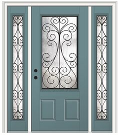 Shown is a Camelia 3/4 Lite 2-Panel Entry Door Painted Riverway with Sidelites. Like what you see? Visit DoorBuy.com today!