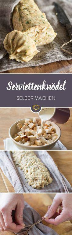 Serviettenknödel werden nicht umsonst traditionell zu saucenreichen Gerichten serviert. Denn ihre breite Schnittfläche kann herrlich viel Sauce aufnehmen.