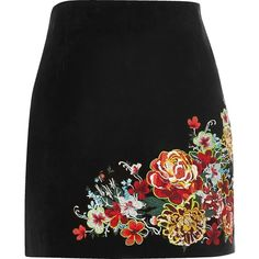 River Island Black suede embroidered mini skirt (€105) ❤ liked on Polyvore featuring skirts, mini skirts, bottoms, mini skirt, suede skirt, suede a line skirt, embroidered skirt and short skirts