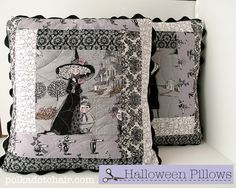 Ghastly #Halloween Pillows - Log Cabin block pillows.