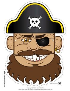 Free Cartoon Pirate Captain Cut Out Face Mask #halloween