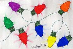 "christmas lights--make ""illumination"" marks by dragging oil pastel (?) onto white area around lights"