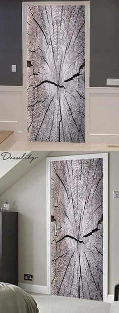 Wood Print Door Stickers. - Self-adhesive door mural paper, home decoration DIY item - It can be attached to almost all smooth surfaces, doors, walls, windows, metal, and glass - Can be cut with scissors to further customize its look - Please measure the area you will be decorating before you choose its size #doorstickers#doorart#doordecor#dresslily Cheap Doors, Door Murals, Door Stickers, Home Collections, Wood Print, Scissors, Adhesive, Smooth, Walls