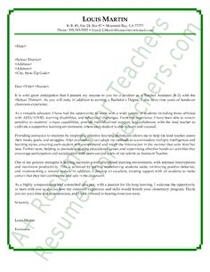 Recommendation Letter Sample For Teacher Aide   Http://www.resumecareer.info  Cover Letter For A Resume