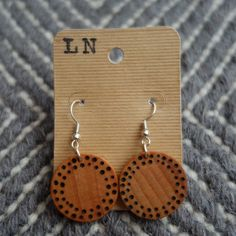 Wood Burned Earrings Dots by abbynap on Etsy, $12.00