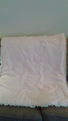 Hearts white eyelet baby crib quilt  handmade in USA dsuesquilts