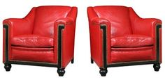 Art Deco Leather Club Chairs  Leather reflected luxury and bright colors signaled the prosperous times