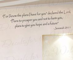 For I Know Plans I Have You Jeremiah 29:11 Inspirational Home Living Room Religious God Bible Vinyl Quote Wall Decal Sticker Art Decor R42 on Etsy, $22.97