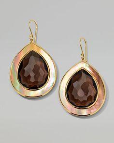 Ondine Smoky Quartz & Shell Teardrop Earrings by Ippolita