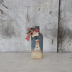 Primitive Country Snowman on Vintage Bottle by FlatHillGoods