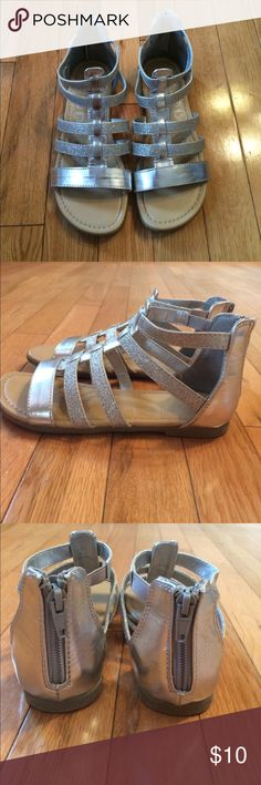 Silver sparkly sandals Pretty sandals in great condition.  Zipper closure.  Size 2 Children's Place Shoes Sandals & Flip Flops