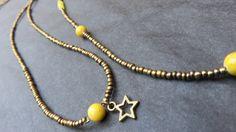 Sautoir perles jaune en agate et bronze : Collier par les-ptits-pois-sont-rouges
