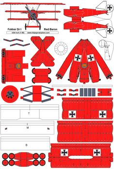 paper airplane model template for WWI fighter Fokker Red Baron Paper Airplane Models, Model Airplanes, Sand Crafts, Paper Crafts, Fokker Dr1, Plotter Cutter, Paper Aircraft, Pumpkin Coloring Pages, Free Paper Models