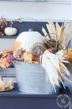 use pinecones in the bottom and just decorate the top OUTDOOR IDEAS FOR FALL DECORATING - StoneGable