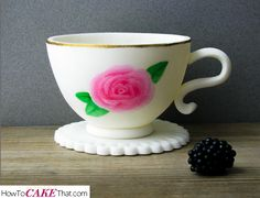 How to make a perfect little edible teacup! The perfect accessory for a teapot cake. Easy photo step by step tutorial on how to make a gum paste or fondant teacup