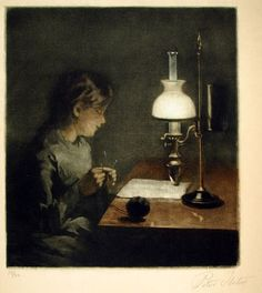 Peter Ilsted: 'Girl knitting by lamplight', 1913