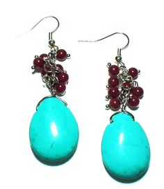 Handmade Artisan Turquoise Blue and Natural Red Coral Dangle Earrings