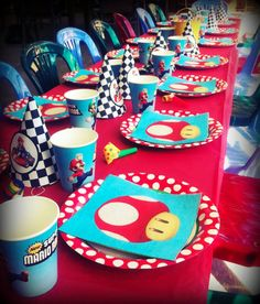 Super Mario Kart Table setting. Hand made party hats