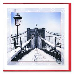 Handmade Holiday Card feature early winter morning on Pedestrian level of Brooklyn Bridge. $4.87