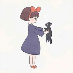 Kiki & Jiji from Kiki's Delivery Service Studio Ghibli Films, Art Studio Ghibli, Manga Anime, Anime Art, Dibujos Cute, My Neighbor Totoro, Animes Wallpapers, Hayao Miyazaki, Cute Drawings