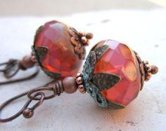 Czech Glass Dangle Earrings. Verdigris Drop Earrings. Copper Earrings. Verdigris Jewelry