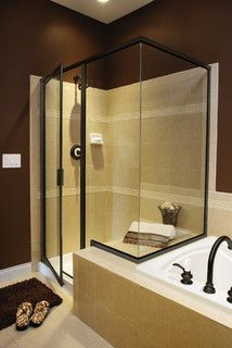 Shower That Overlaps With Jacuzzi Tub   Would Make Small Bathroom More  Functional Custom Shower Doors