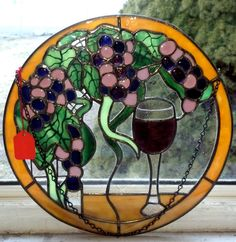 Grapes and Wine Stained Glass suncatcher handmade by GlassbyViki, $500.00