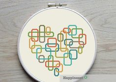 geometric modern cross stitch pattern heart, retro blocks, PDF pattern ** instant download**