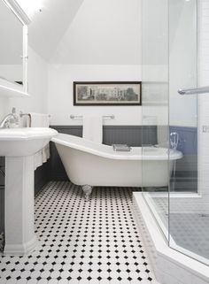 Interesting Edwardian Bathroom Design Ideas and Edwardian Bathroom Edwardian Bathroom White Tiles And Traditional Black White Bathrooms, White Bathroom Tiles, Bathroom Floor Tiles, Black And White Bathroom Floor, Bead Board Bathroom, Floor Sink, Bling Bathroom, Tile Bathrooms, Guest Bathrooms