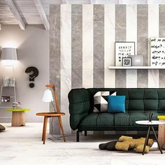 Boonthavorn. Filling your space with stripes wall tile. easy to place a green sofa with.