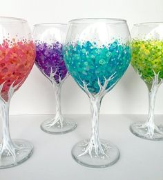 Blossoming Tree Wineglass Set of hand-painted glasses Blossoming Tree Wineglass Set of hand-painted glasses <br> Custom Hand Painted Wine Glasses are the best way to drink wine! These custom wine glasses are perfect for any Wine drinker! Diy Wine Glasses, Custom Wine Glasses, Decorated Wine Glasses, Hand Painted Wine Glasses, Painting On Wine Glasses, Eye Glasses, Wine Glass Crafts, Wine Bottle Crafts, Bottle Art
