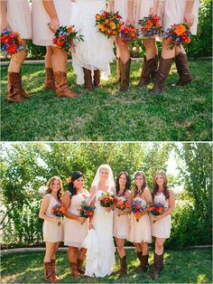 pink bridesmaids in boots http://www.weddingchicks.com/2013/10/25/easy-going-wedding/