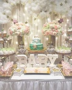 """Beautiful Twinkle Twinkle Little Star baby shower party! See more party planning ideas at <a href=""""http://CatchMyParty.com"""" rel=""""nofollow"""" target=""""_blank"""">CatchMyParty.com</a>!"""