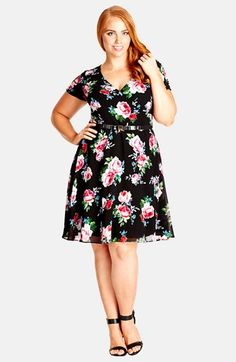 City Chic 'Pretty Rose' Fit & Flare Dress (Plus Size) available at #Nordstrom