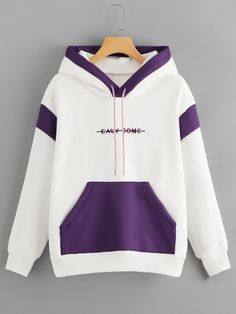 Color Block Letter Embroidered HoodieFor Women-romwe - Color Block Letter Embroidered HoodieFor Women-romwe Source by - Simple Outfits, Stylish Outfits, Cool Outfits, Fashion Outfits, Trendy Hoodies, Colorful Hoodies, Hoodie Outfit, Sweater Hoodie, Kawaii Clothes