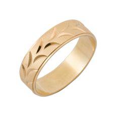 BARIKA  Centro: finas líneas con hojas diamantadas en oro amarillo Borde externo: liso amarillo Tamaño: 5mm