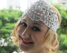Headband 20s de Renda Branca Bordada