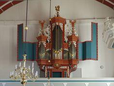 The pipe organ in the Evangelical Reformed Church in Uttum (Krummhörn), Lower Saxony, Germany. Organ Builder Ahrend & Brunzema