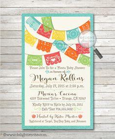 Papel Picado Fiesta Baby Shower Invitations