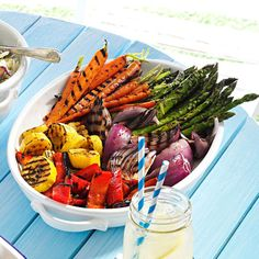 Grilled Vegetable Platter Recipe -The best of summer in one dish! These pretty veggies are meant for entertaining.…
